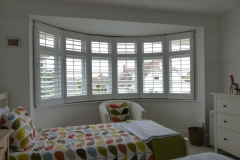 Large Round Bay Window in Bedroom with White Shutters Fitted