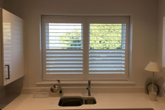 Split Height Plantation Shutters in the Kitchen with Top Louvres Open