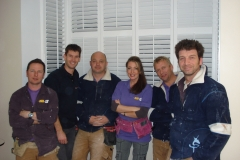 Sam Dunster with the team on BBC DIY SOS fitting shutters