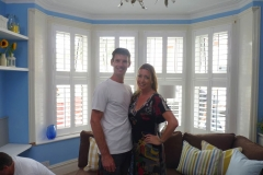 Julia Kendell with Sam Dunster on set in Southampton 60min makeover
