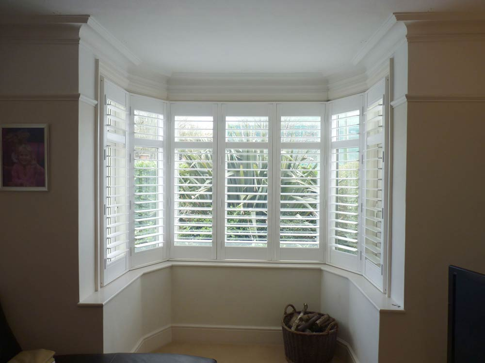 Finished vinyl bay shutters