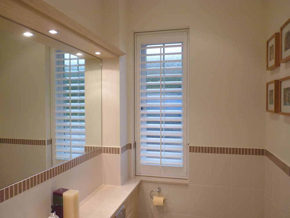 Tilt cut out in bathroom shutters
