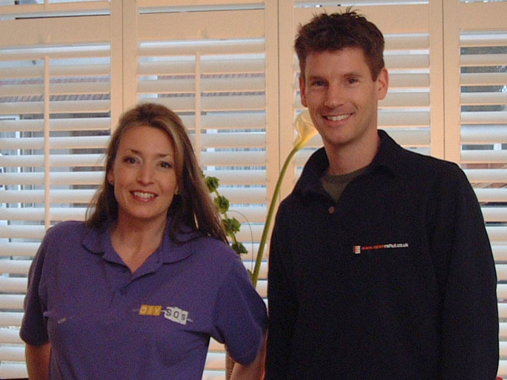 Sam Dunster with Julia Kendell on BBC DIY SOS and team