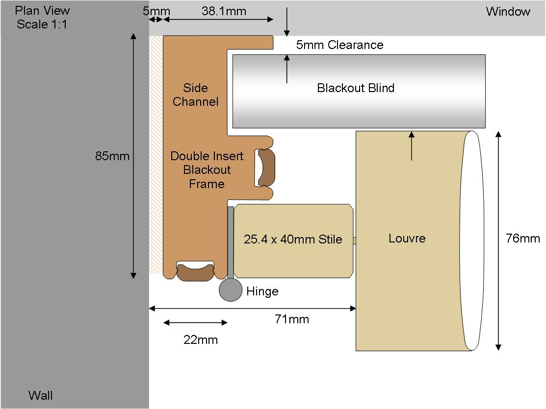 Technical drawing of blackout frame