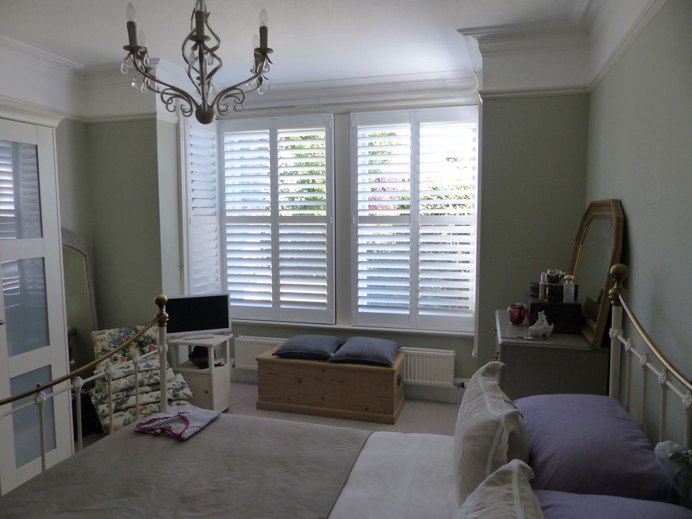 Mdf or wooden shutters opennshut - Living room with bay window ...