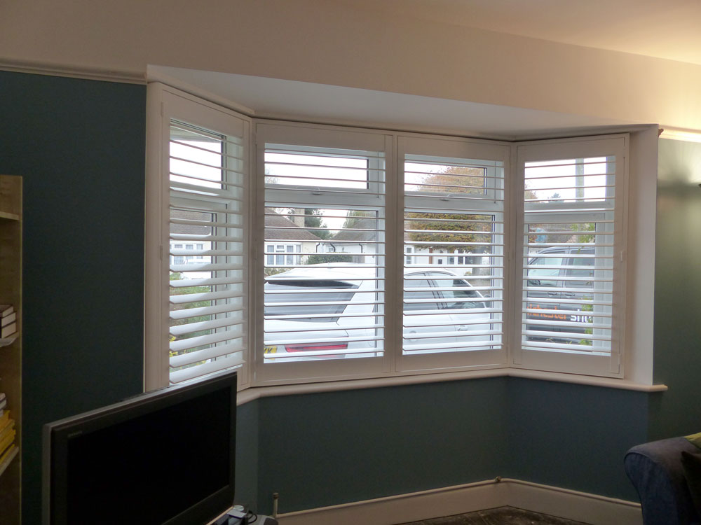 Wide Angled Bay Window with Shutters Fitted