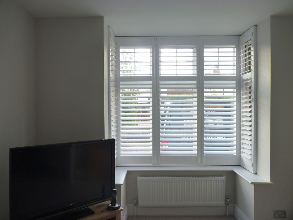 Shutter Fitted to Small Square Bay Window in Living Room
