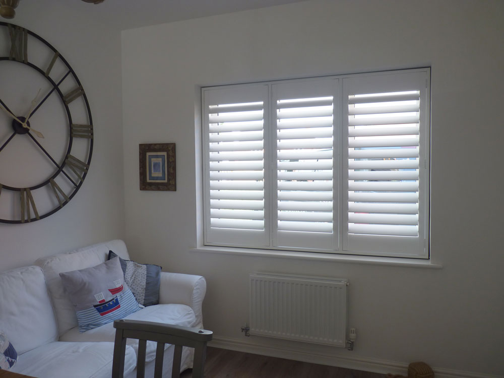 White Plantation Shutters in the Living Room